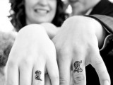 Creatively written intitals as wedding bands is a popular idea