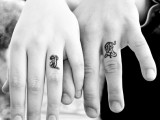 Ring finger initials done with a creative and bold printing type