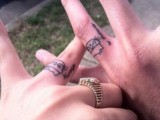 Little funny pets or animals can be tattooed on your ring fingers and Always & Forever words will make them cooler