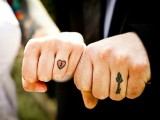 Colorful heart and key tattoos for the bride and groom