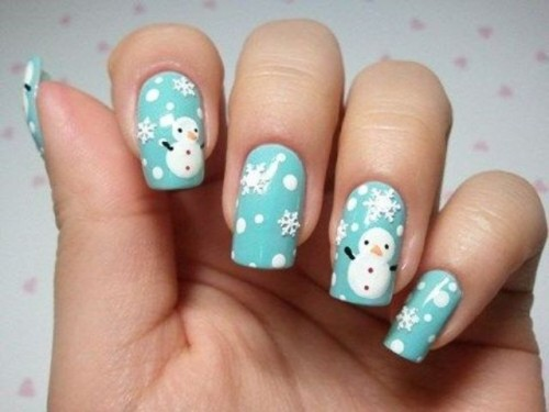 tiffany blue nails with polka dots, snowflakes and snowmen are lovely and bold for a bride who loves all things whimsy