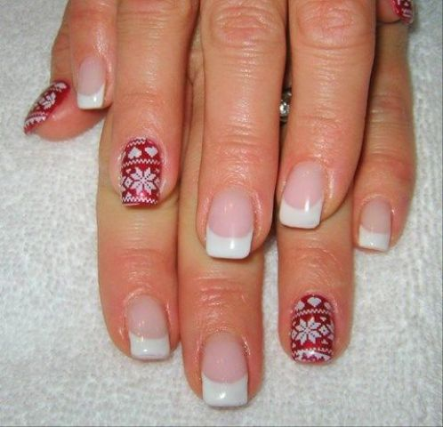 a French manicure and some red accent nails with sweater-like prints will make your winter bridal look very bold