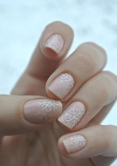 blush nails with snowflakes with some rhinestones are a romantic and chic idea for a winter bride