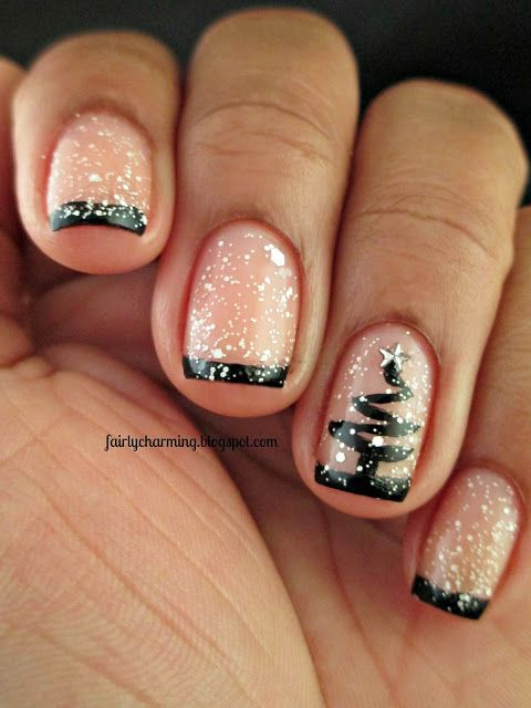 blush and black French nails with white polka dots that imitate snow and a black tree painted for a whimsical and fun bridal look