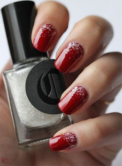 burgundy wedding nails with snowy touches at the base look cool and very winter-like