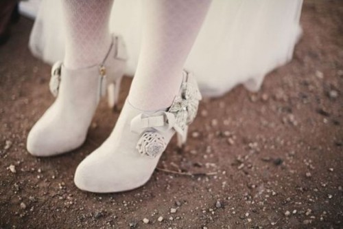 white booties with heels and fabric flowers are a great option for a vintage-inspired bridal look