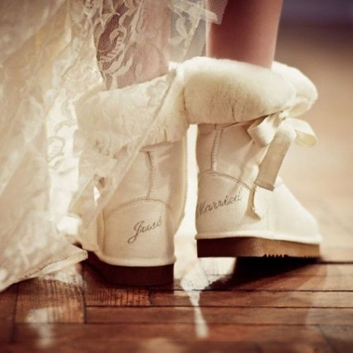 white ugg boots with faux fur and bows are chic and very comfortable for winter brides