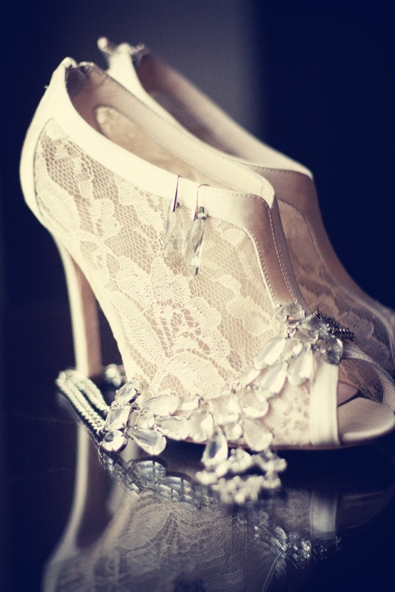 white lace peep toe booties are super elegant and chic, great for winter brides and for other seasons, too