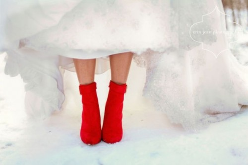 gorgeous red suede booties are amazing to add a touch of bright color to your holiday wedding look