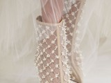 neutral embellished boots with heels will accent any bridal look, not only a winter one