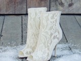white lace booties with peep toes are chic, refined and elegant, your bridal look will be very bold with them