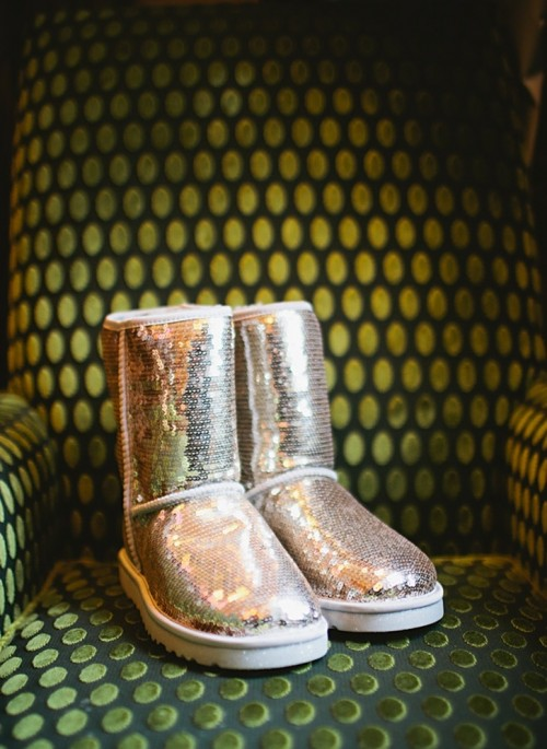 silver sequin ugg boots are amazing for a glam winter bride, they will add a shiny touch to the look