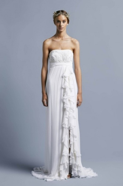 a strapless sheath wedding dress with ruffles and a front slit is a comfortable idea and you let the air flow, which helps if it's hot