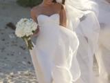 a flowy beach wedding dress idea