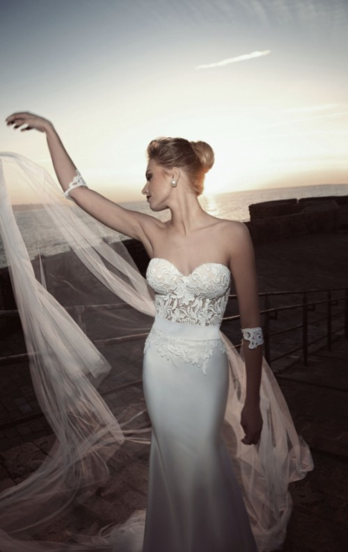 a gorgeous sheath wedding dress with a bustier lace bodice and a plain skirt plus a long and airy veil
