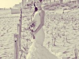 a sexy mermaid draped wedding dress with a ruffle tail and spaghetti straps is a statement idea