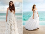 romantic strapless wedding dresses with lace appliques are amazing to tie the knot on the beach