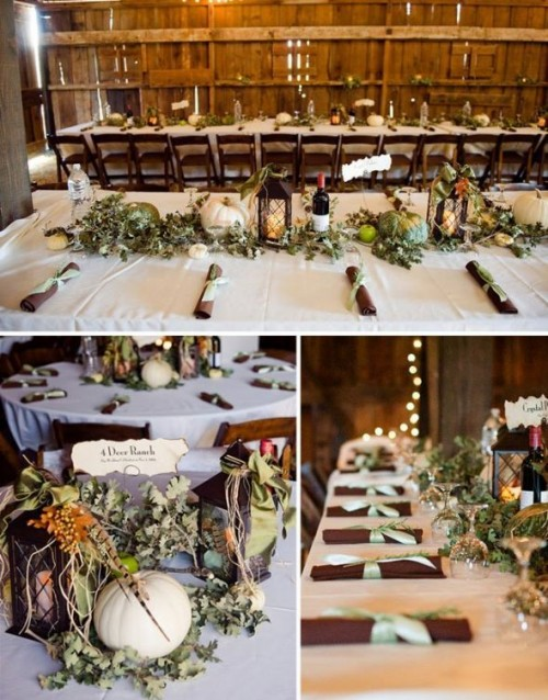 a barn fall wedding tablescape with a greenery table runner, fresh apples and pumpkins and candle lanterns