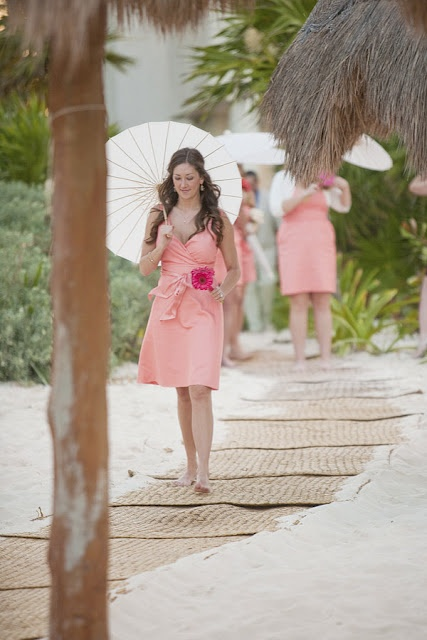 pink knee bridesmaid dresses with detailed bodices are cool, cute and very girlish