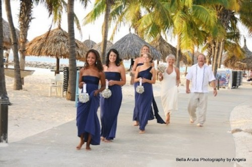 mismatching navy maxi bridesmaid dresses are an elegant and refined touch to your wedding