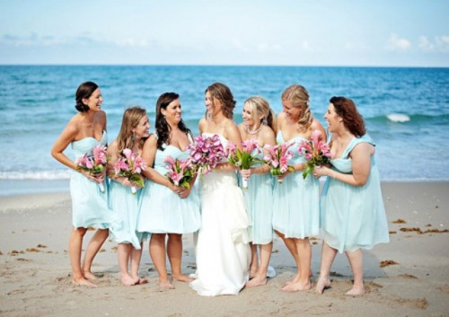mismatching aqua bridesmaid A-line dresses will perfectly match a beach wedding and show off the personal style of each gal