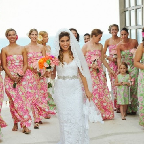 bright pink strapless printed maxi bridesmaid dresses for a colorful beach wedding