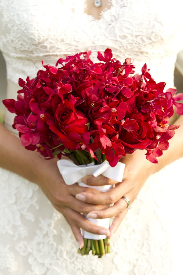 Picture of beautiful bright summer wedding bouquets