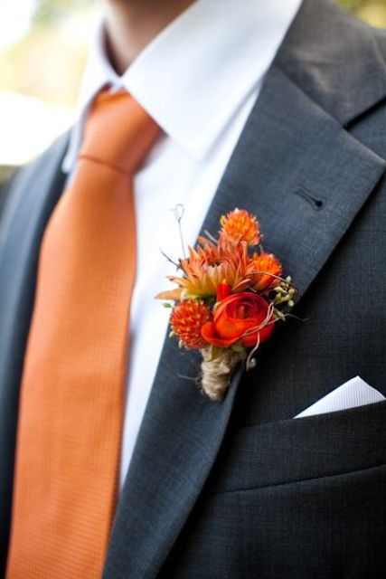 42 Beautiful Fall Wedding Boutonnieres - Weddingomania