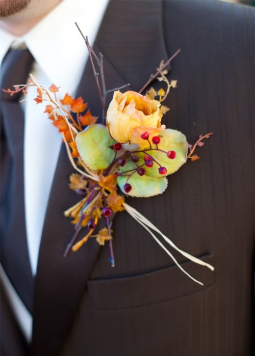 42 Beautiful Fall Wedding Boutonnieres