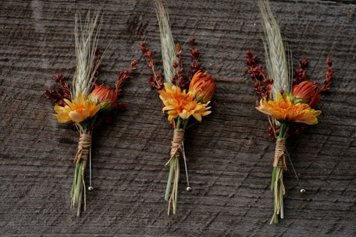 dried floral wedding boutonnieres with spikes and twine are amazing for a colorful fall wedding