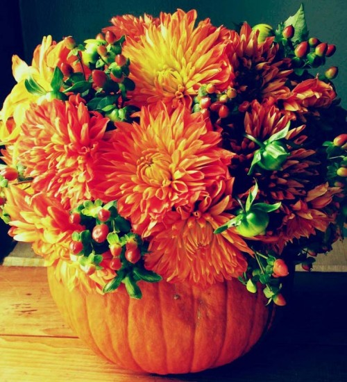 a fall pumpkin with bold blooms and berries is a lovely and simple fall rustic wedding centerpiece