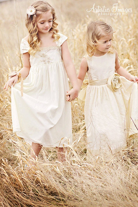 neutral embroidered midi and maxi flower girl dresses will be a nice choice for a boho or vintage wedding