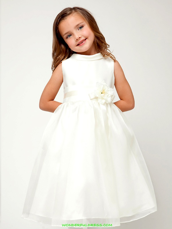 a white sleeveless high neckline flower girl dress with a white sash and a flower on it is a stylish and pretty idea
