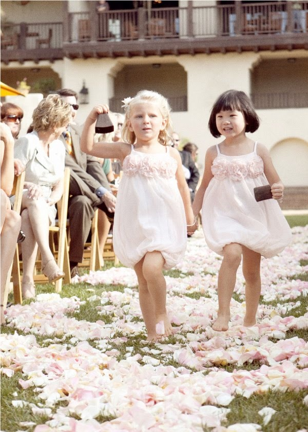 blush over the knee flower girl dresses with fabric blooms and spaghetti straps for a beautiful girlish look