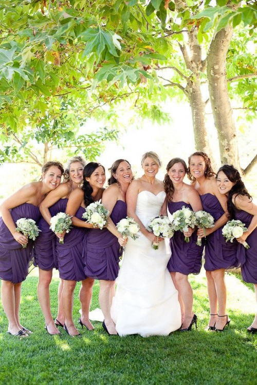 purple strapless draped short bridesmaid dresses can be a nice choice for a Halloween wedding