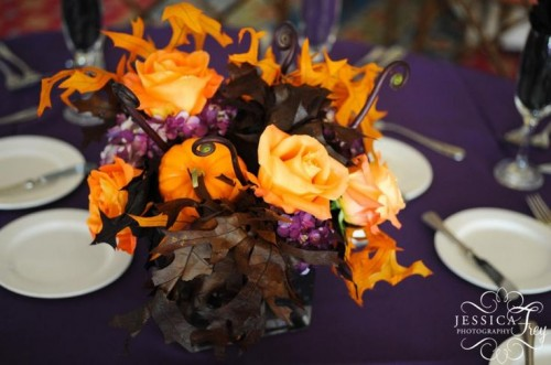 a dramatic halloween wedding centerpiece