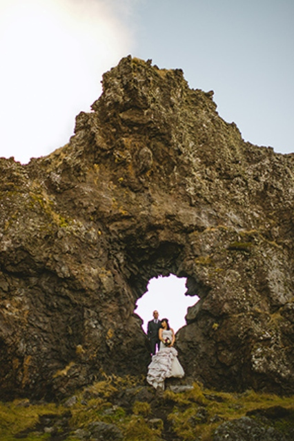 Picture Of beautiful iceland elopement with polar lights  11