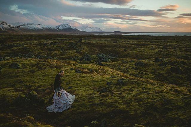 Picture Of beautiful iceland elopement with polar lights  13