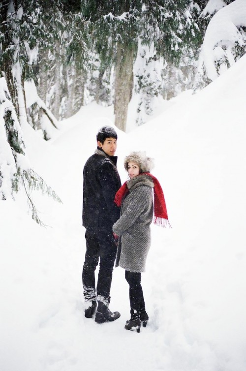 Beautiful Snowy Engagement Shoot In Canadian Woods