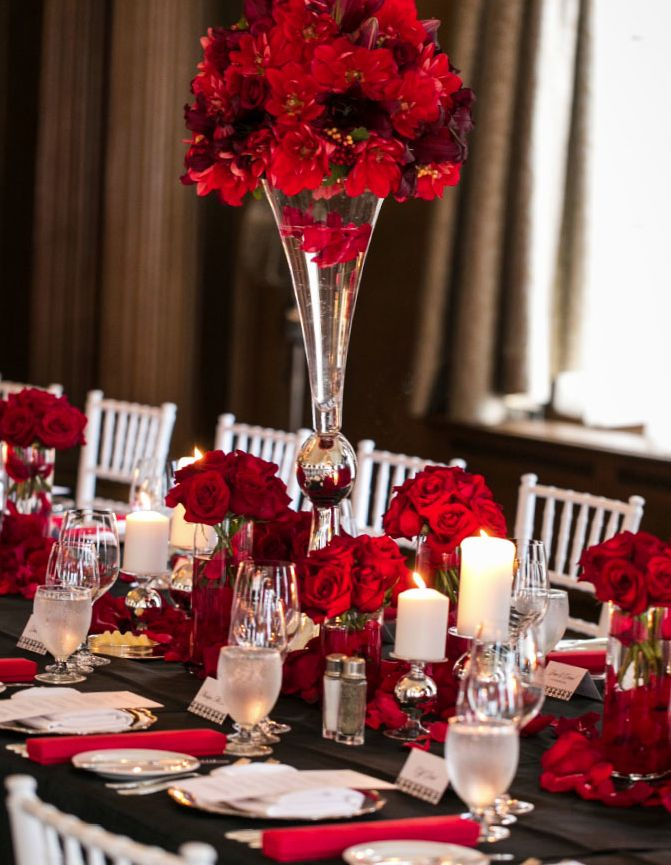 Picture Of Beautiful Valentines Day Wedding Tablescapes 4