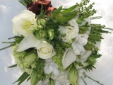 a bold wedding bouquet in green and white, with dimension and much texture