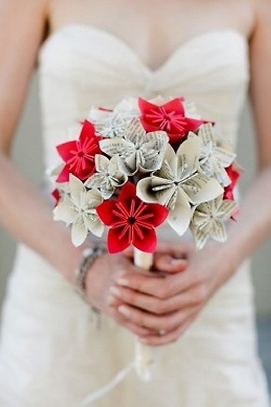 a neutral and red paper bloom wedding bouquet is a durable and stylish idea for a non typical bride