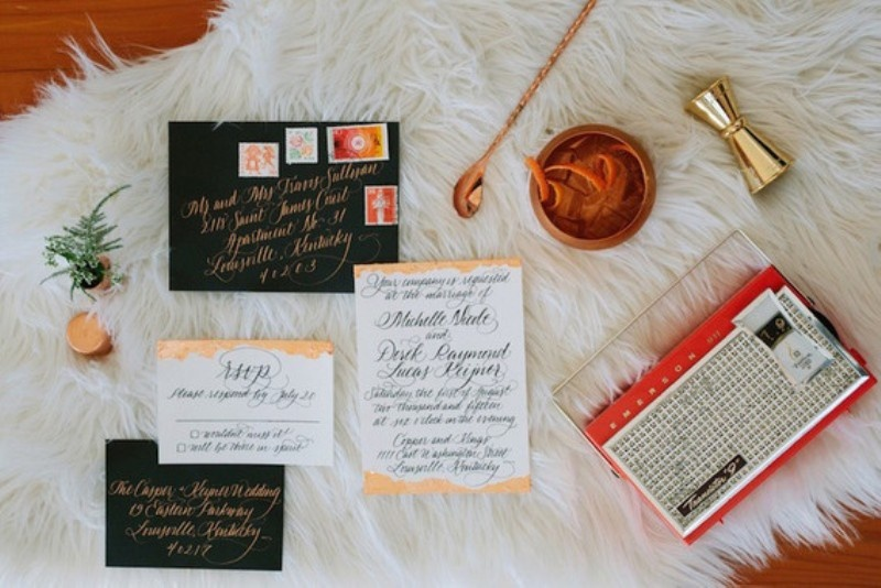 Picture Of black and orange retro meets modern wedding inspiration  1