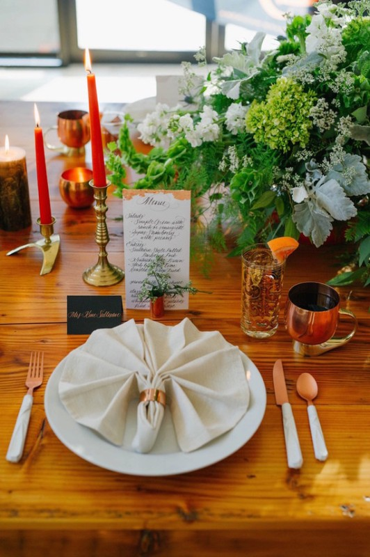 Picture Of black and orange retro meets modern wedding inspiration  11