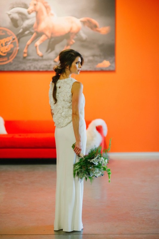 Picture Of black and orange retro meets modern wedding inspiration  16