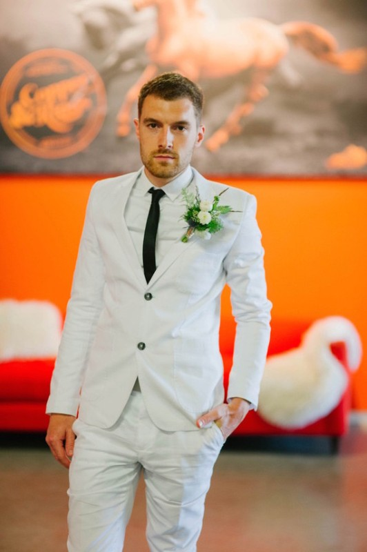 Picture Of black and orange retro meets modern wedding inspiration  6