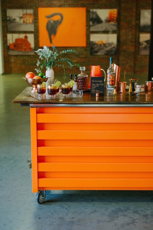 Picture Of black and orange retro meets modern wedding inspiration  7