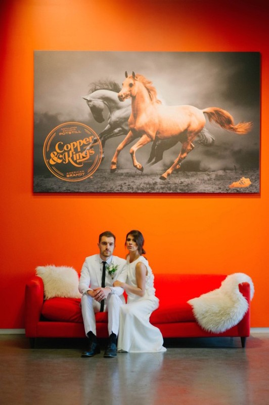Picture Of black and orange retro meets modern wedding inspiration  8