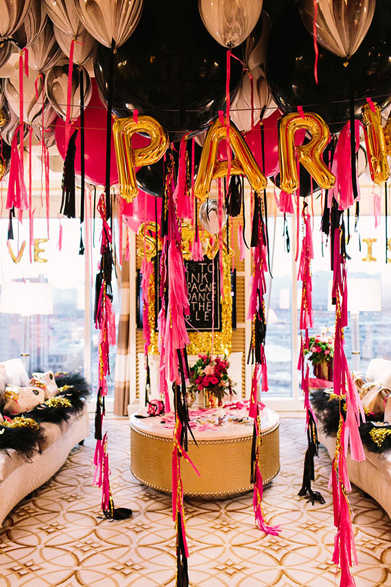 Picture Of Black Pink And Gold Bachelorette Party In Las