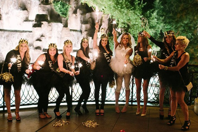 Picture Of black pink and gold bachelorette party in las vegas 22